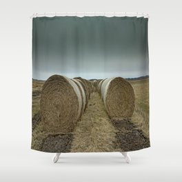 Hay bales on a field Shower Curtain