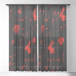 Red Paint / Blood splatter on black Sheer Curtain