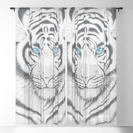 White Bengal tiger Blue Eyes Ink Art Sheer Curtain