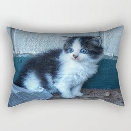 Black + White Kitten Rectangular Pillow
