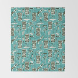 Tropical Tiki - Aqua Throw Blanket