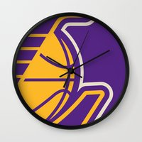 lakers Wall Clocks featuring Lakers by racPOP