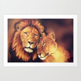 Lions Soulmates Art Print