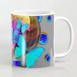 BLUE & GOLD  BUBBLES BLUE BUTTERFLIES PEACOCK EYES Coffee Mug