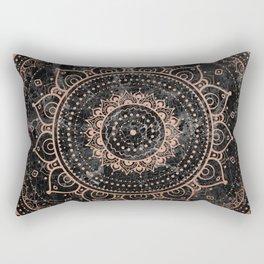 Mandala - rose gold and black marble Rectangular Pillow