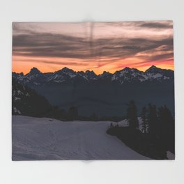 Rising Sun in the Cascades - nature photography Throw Blanket