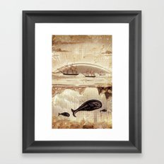 paper II :: whales/ships (red) Framed Art Print