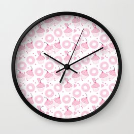Pink Cupcakes and Donuts - White Wall Clock