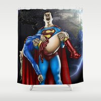 supergirl Shower Curtains featuring The death of Supergirl by Bungle