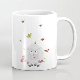 Sheep with flowers and butterflies B1mk7 Coffee Mug