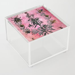 Vintage Bees with Toadflax Botanical illustration collage Acrylic Box