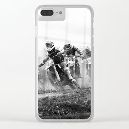 Motocross black white Clear iPhone Case