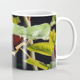 Mourning Cloak Butterfly at Rest on a Rose Leaf Coffee Mug