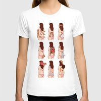 pizza T-shirts featuring Girl & Pizza by Kimiaki Yaegashi
