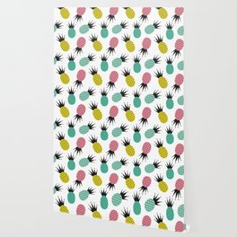 colorful cute pineapples  pattern background illustration Wallpaper