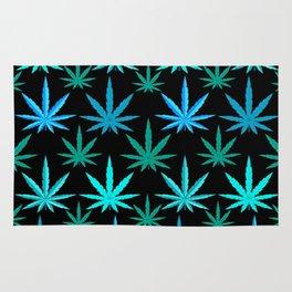 Marijuana Teal Turquoise Weed Rug