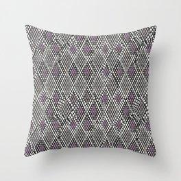 Grey and Purple Python Throw Pillow