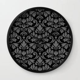 Flourish Damask Big Ptn Gray on Black Wall Clock