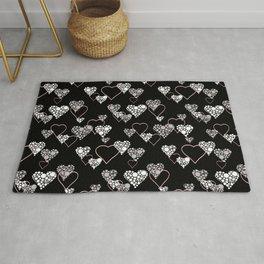 Polka dot pattern, retro, black and white Rug