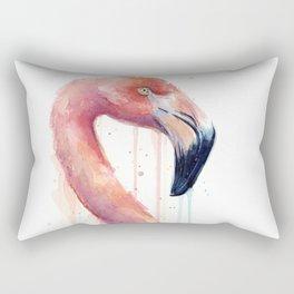 Watercolor Pink Flamingo Illustration | Facing Right Rectangular Pillow