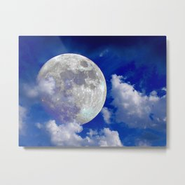 Full moon in clouds Metal Print