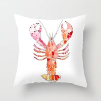 lobster Throw Pillows featuring Lobster by fossilized