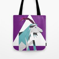 goat Tote Bags featuring Goat by Sudário