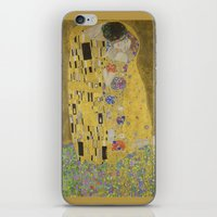 gustav klimt iPhone & iPod Skins featuring The Kiss - Gustav Klimt by Elegant Chaos Gallery