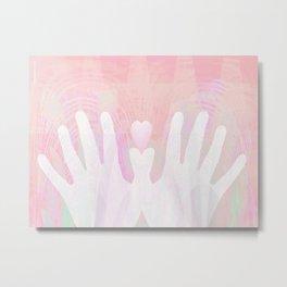 Healing Hands Pink Metal Print