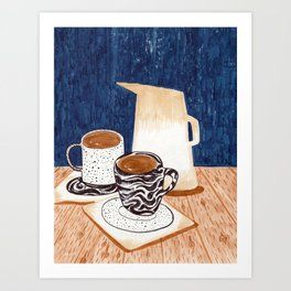 Coffee for Two Drawing by Amanda Laurel Atkins Art Print