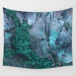 Malachite Glitter Stone and Ink Abstract Gem Glamour Marble Wall Tapestry