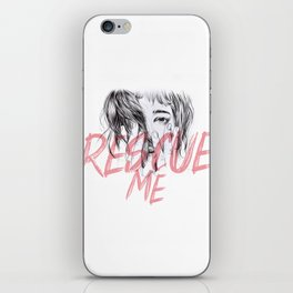 Rescue Me   Portrait typography pink girl iPhone Skin