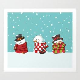 Wrapped Snowmen Art Print