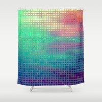 pixel art Shower Curtains featuring piXel by 2sweet4words Designs