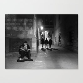 Musician in the Barcelona Gothic Canvas Print