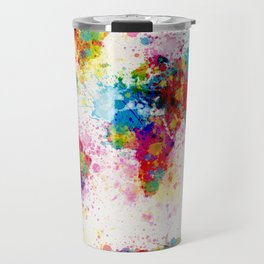 Map of the World Map Paint Splashes Travel Mug