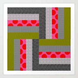 Modern Neon Log Cabin Quilt Design Art Print