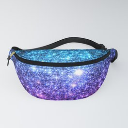 Glitter Galaxy Stars : Turquoise Blue Purple Hot Pink Ombre Fanny Pack