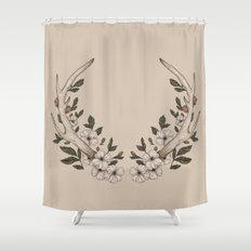 Floral Antler Shower Curtain