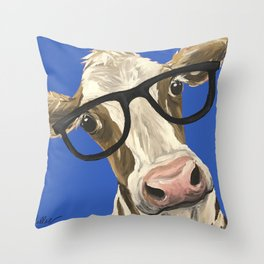Cute Cow With Glasses, Blue Glasses Cow Throw Pillow