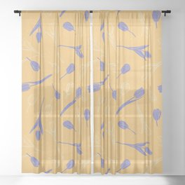 Sunny pattern with purple tulips Sheer Curtain