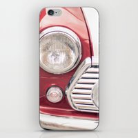 mini cooper iPhone & iPod Skins featuring Red Mini Cooper by Oy Photography