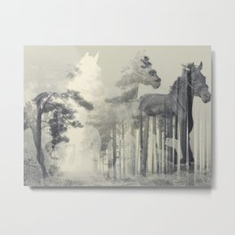 Like a Horse in the woods Metal Print