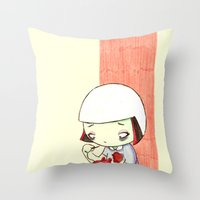 sewing Throw Pillows featuring Sewing Heart by Sabrina Eras