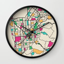 Colorful City Maps: Adelaide, South Australia Wall Clock