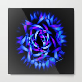 Neon Glowing Blue Rose - Rasha Stokes Metal Print