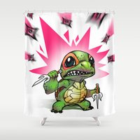 ninja turtles Shower Curtains featuring Baby Mutant Ninja Turtles by whando