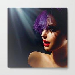 Fashion Art Girl With Violet Hair Metal Print