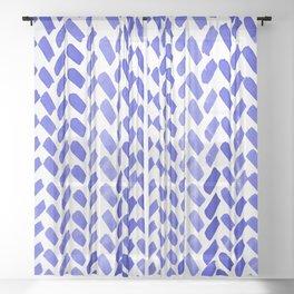 Cute watercolor knitting pattern - blue Sheer Curtain