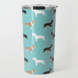 Bull Terrier dog breed cute custom pet portrait pattern all coat colors Travel Mug